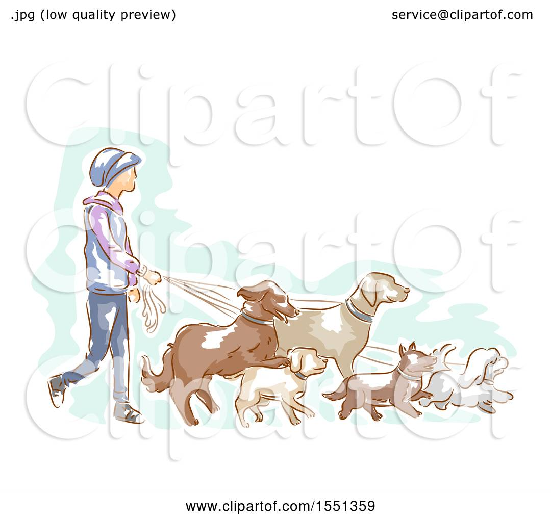 Clipart of a Male Professional Dog Walker - Royalty Free Vector ...