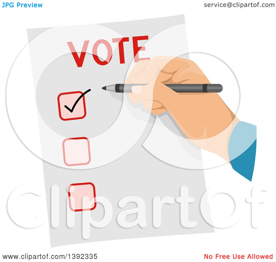 Clipart of a Man Checking a Box on a Voter Ballot ...