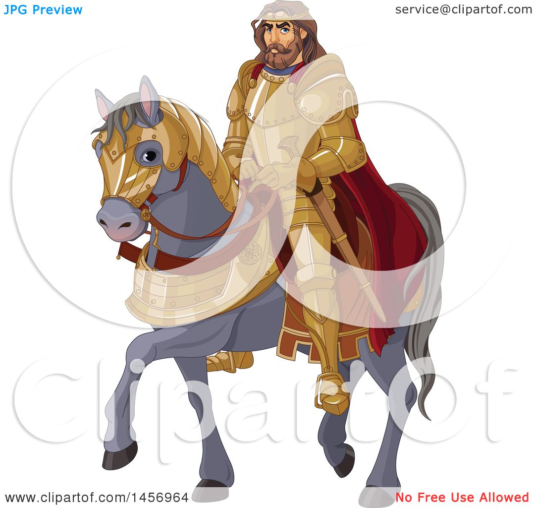 Clipart Of A Man King Arthur On A Gray Horse Royalty Free Vector Illustration By Pushkin 1456964