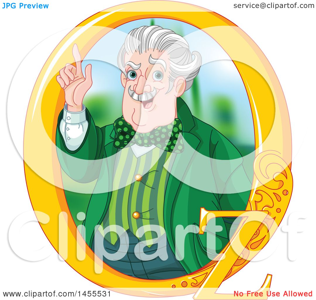 Clipart of a Man, the Wizard of Oz, Holding up a Finger in a Frame ...