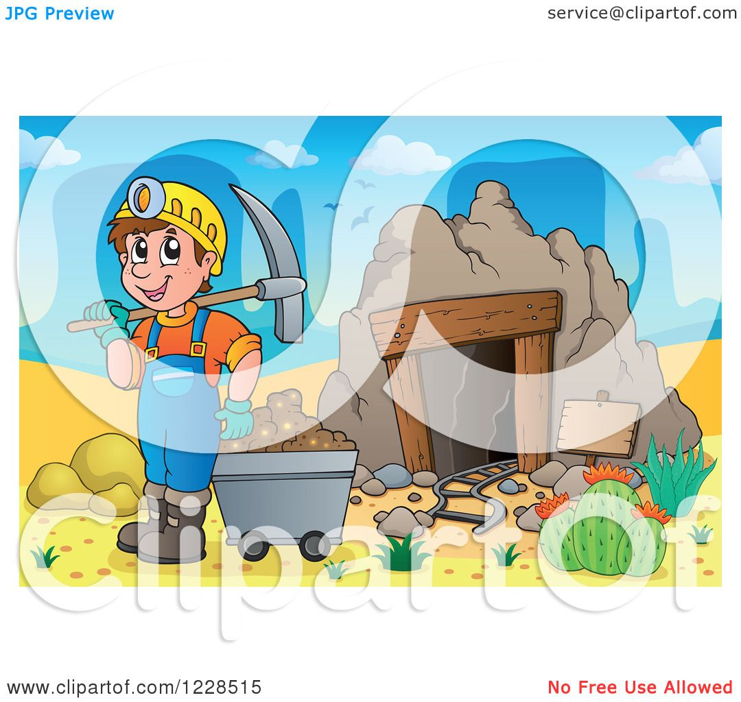Clipart of a Man with a Cart and Pickaxe at a Desert Mining Cave ...