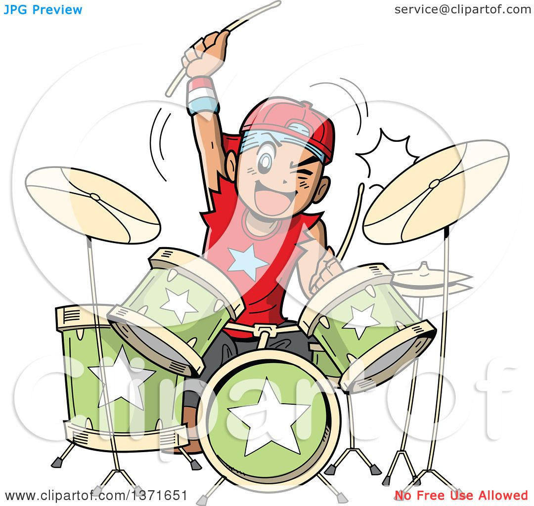 Clipart Of A Manga Boy Playing Drums
