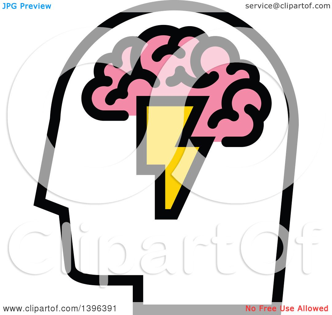 Green lighting bolt clip art vector clip art online royalty - Clipart Of A Man S Head With Visible Pink Brain And Lightning Bolt Royalty Free Vector Illustration By Elena