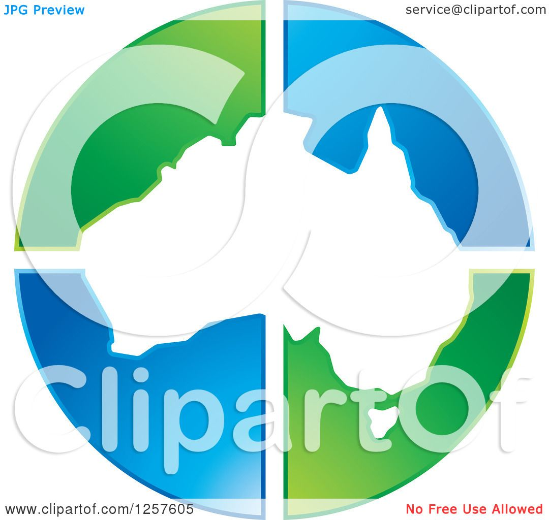 Clipart of a Map of Australia over Green and Blue Triangles ...