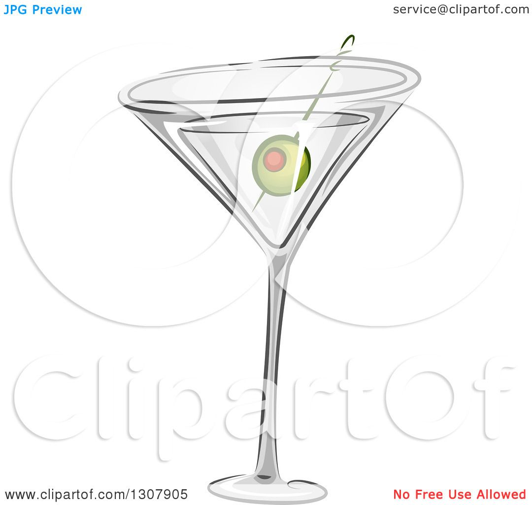 clipart of a martini cocktail with a green olive royalty free vector illustration by bnp. Black Bedroom Furniture Sets. Home Design Ideas
