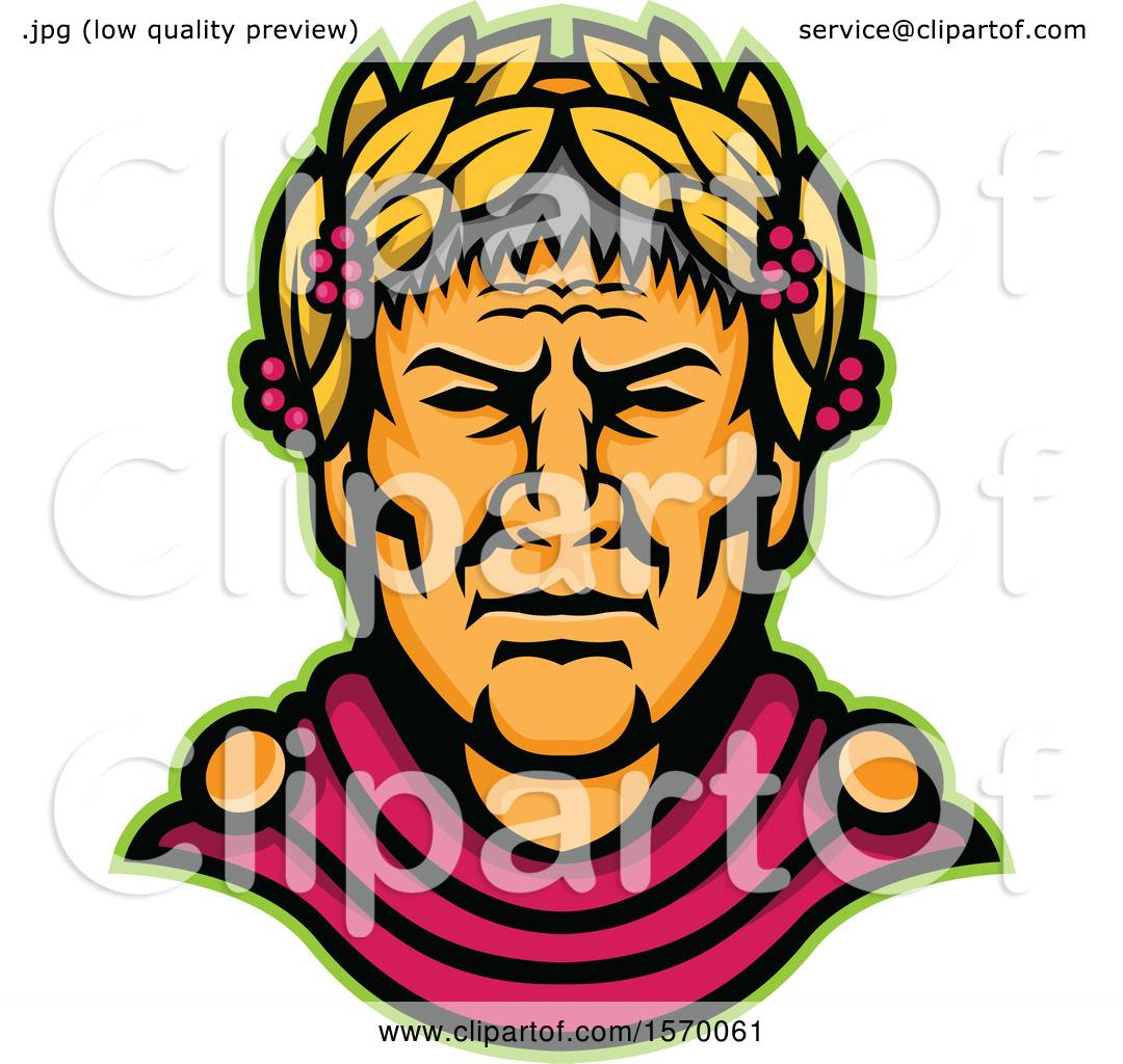 0ea0a039a9 Clipart of a Mascot of Julius Caesar - Royalty Free Vector Illustration by  patrimonio