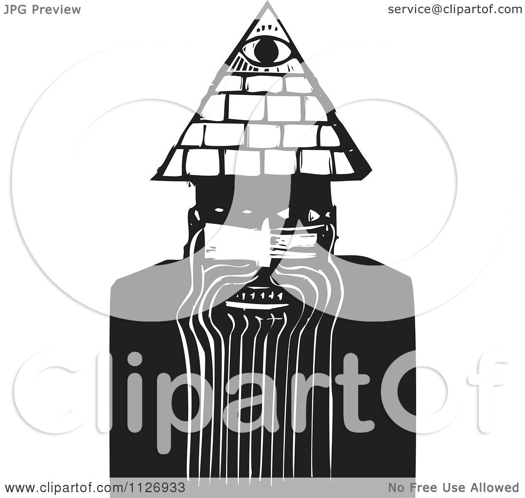 Clipart Of A May With A Spiritual Third Eye Black And ...