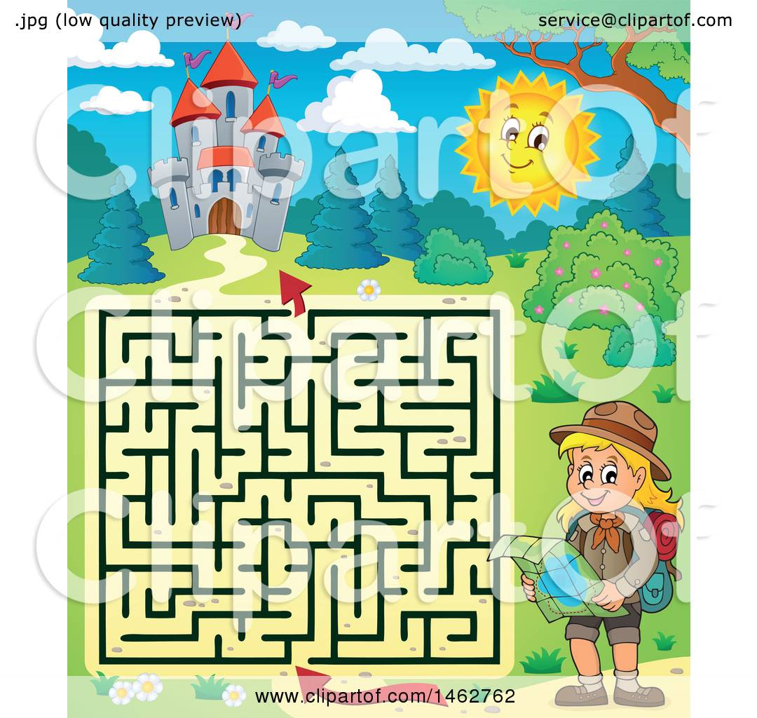 Clipart of a Maze of a Hiking Girl Reading a Map near a Castle