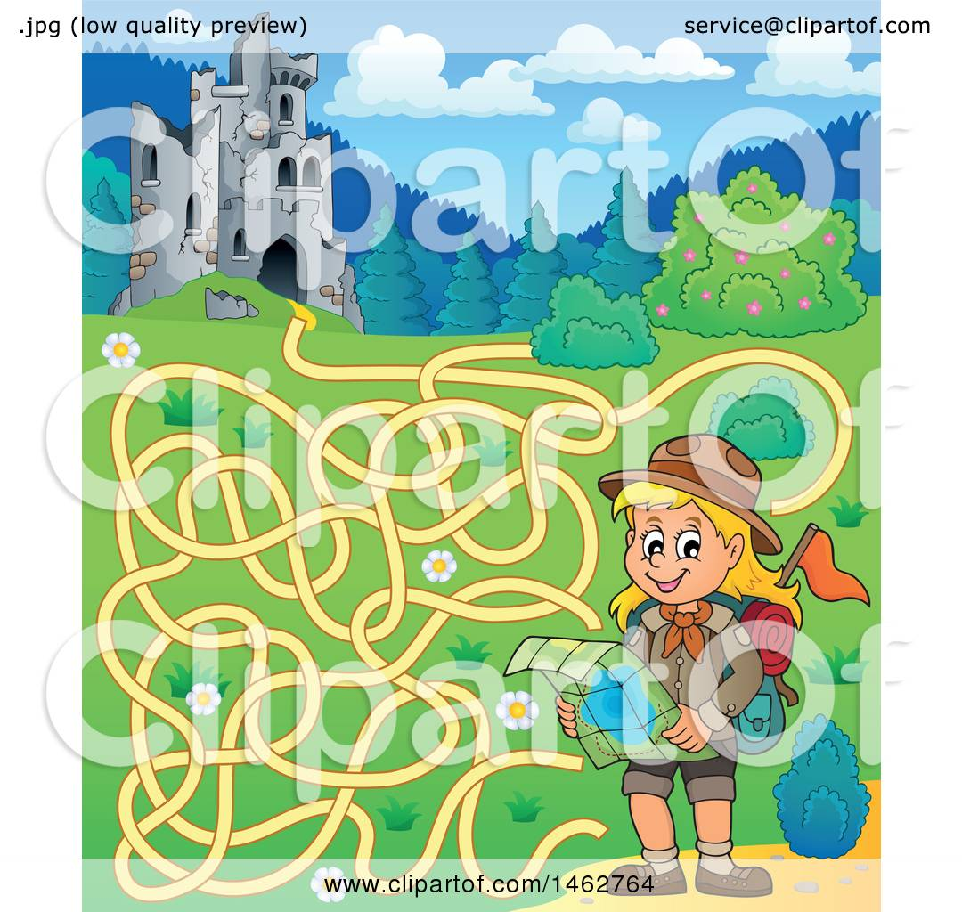 Clipart of a Maze of a Hiking Girl Reading a Map near Castle Ruins