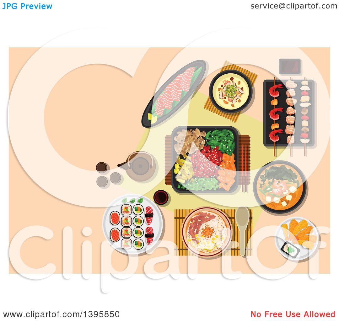 clipart of a meal of japanese cuisine on pastel orange - royalty