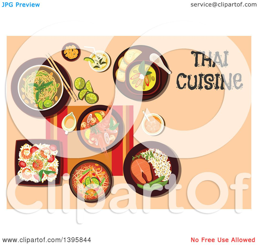 clipart of a meal of thai cuisine, with text on orange - royalty