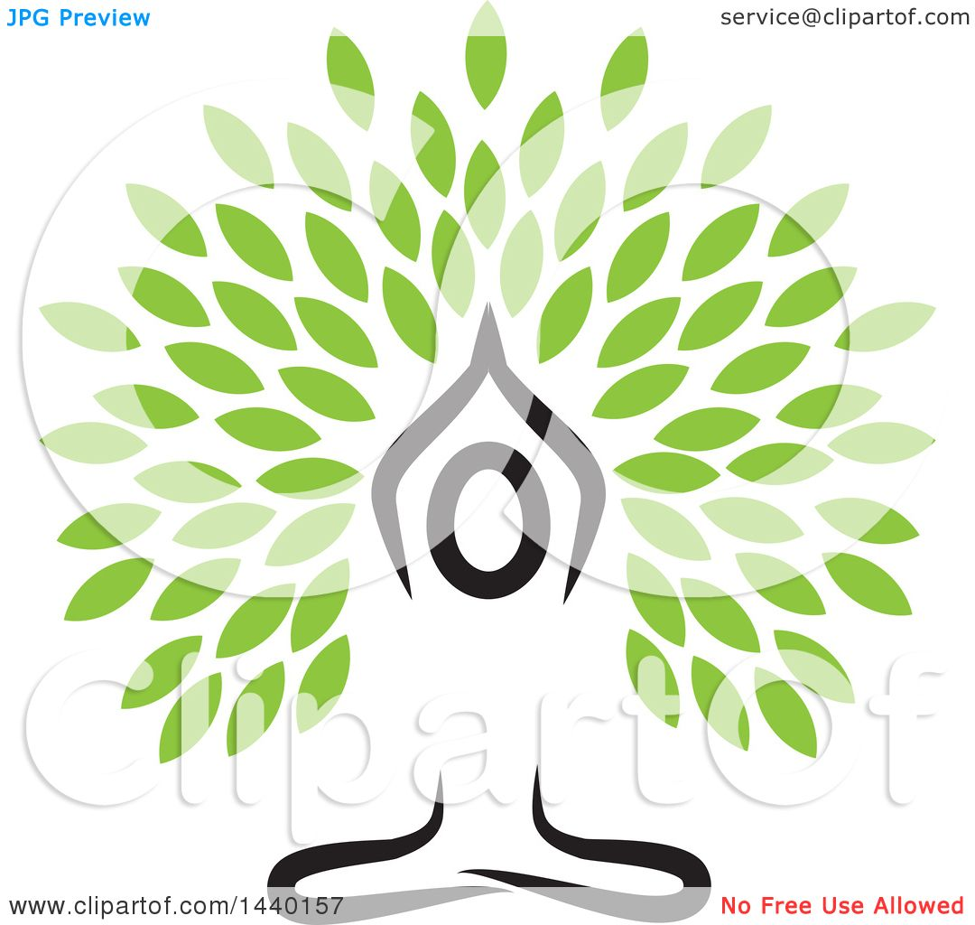 Clipart Of A Meditating Person In A Yoga Pose With Leaves Royalty Free Vector Illustration By Colormagic 1440157