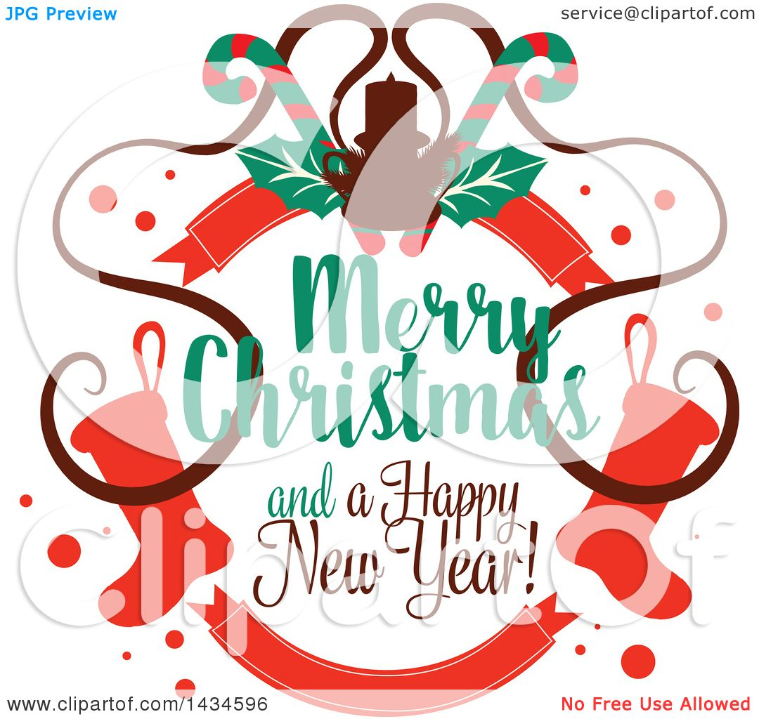 clipart of a merry christmas and a happy new year greeting royalty free vector illustration by vector tradition sm 1434596 royalty free vector illustration by