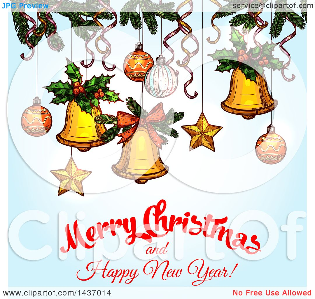 Clipart of a Merry Christmas and Happy New Year Greeting Design ...