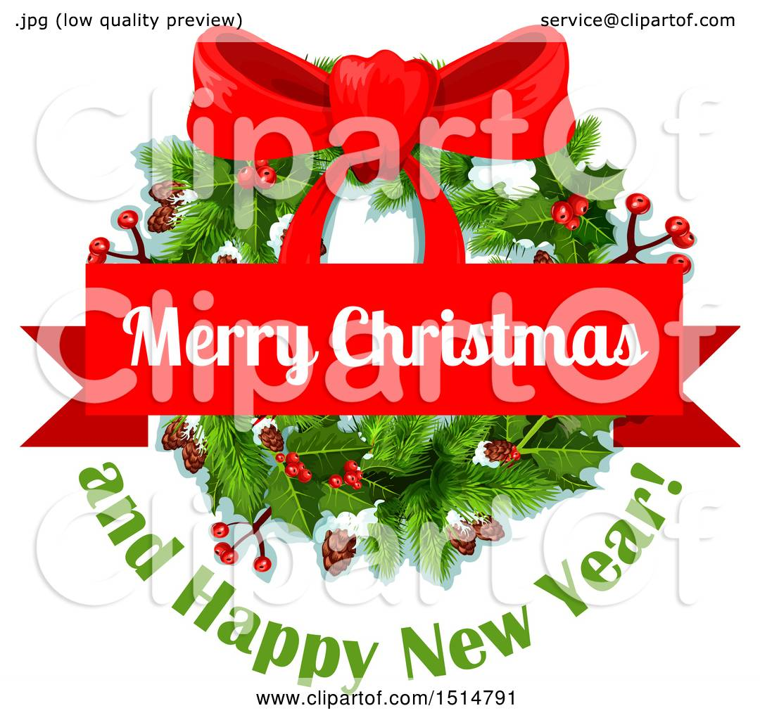 Clipart of a merry christmas and happy new year greeting with a clipart of a merry christmas and happy new year greeting with a wreath royalty free vector illustration by vector tradition sm kristyandbryce Image collections