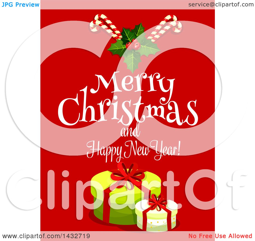 Clipart of a Merry Christmas and Happy New Year Greeting with ...