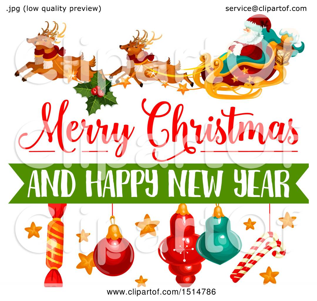 Clipart of a Merry Christmas and Happy New Year Greeting ...