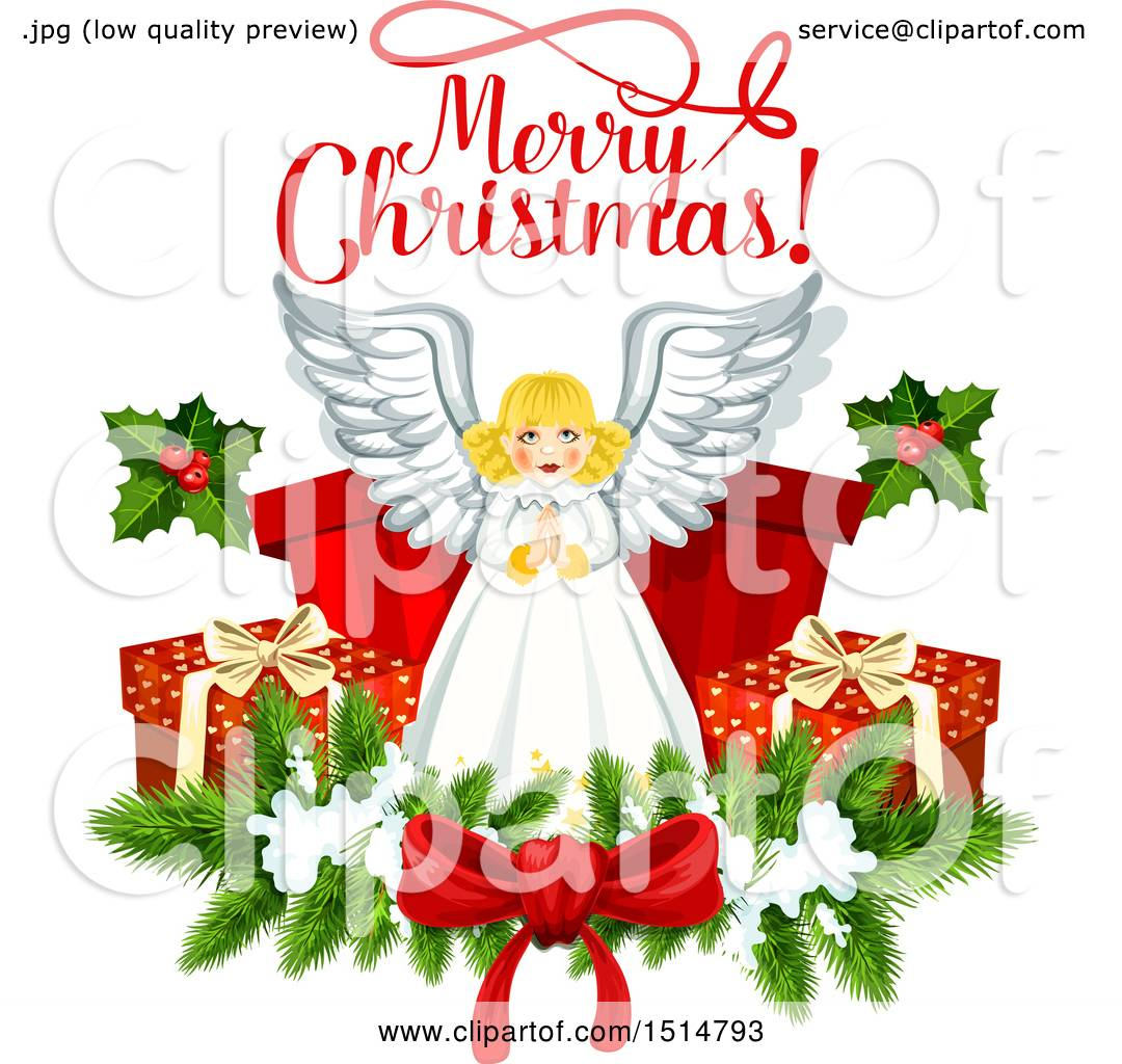 Clipart Of A Merry Christmas Greeting And Angel Royalty Free