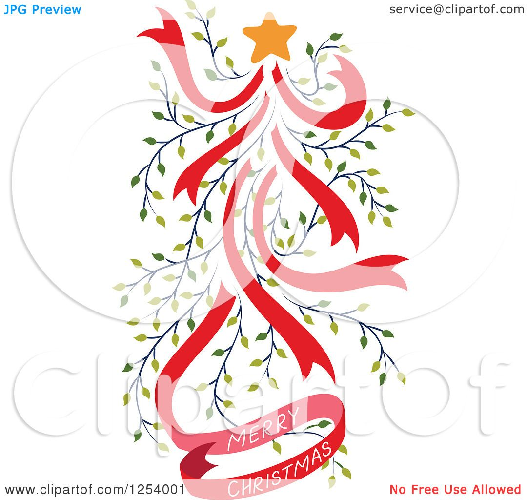Clipart Of A Merry Christmas Greeting And Red And Green Vine Tree