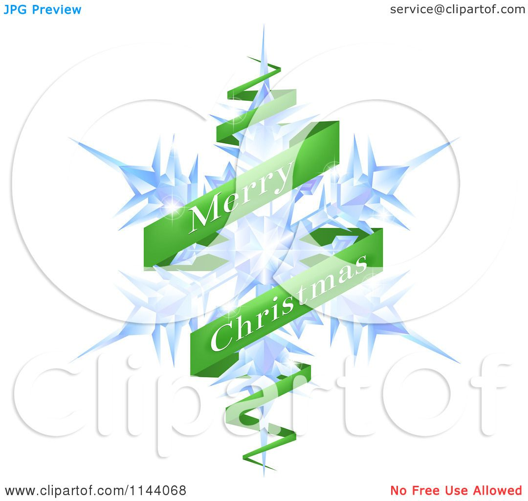 Clipart Of A Merry Christmas Greeting Banner Around A Snowflake