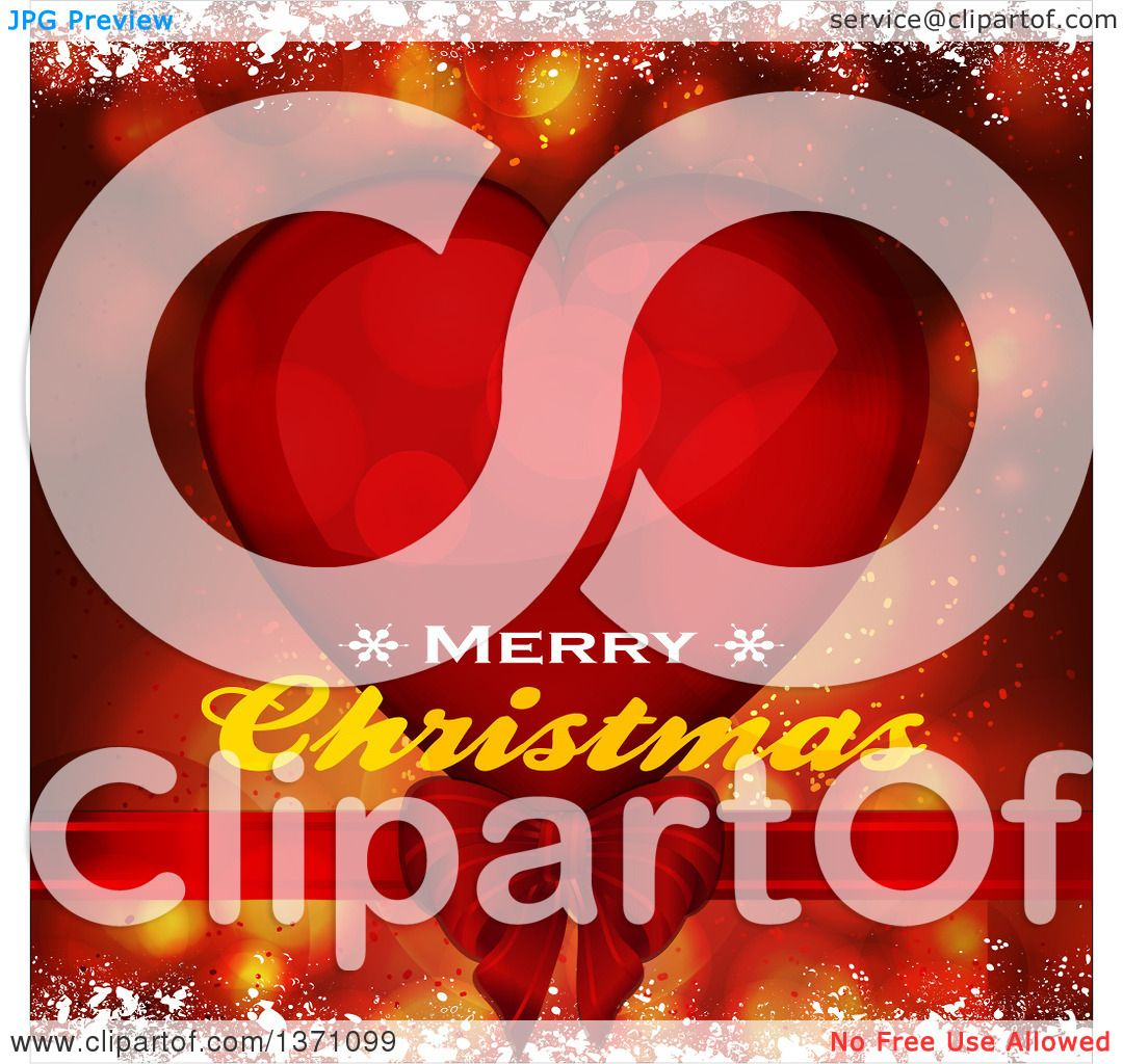 Clipart Of A Merry Christmas Greeting Over A Red Heart Flares Snow - Clip-art-of-heart