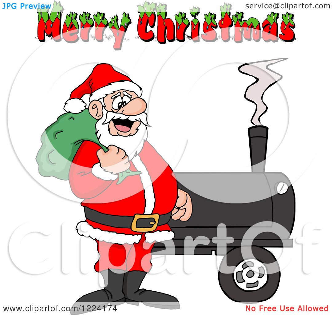 Clipart of a Merry Christmas Greeting over Santa by a Bbq Smoker ...