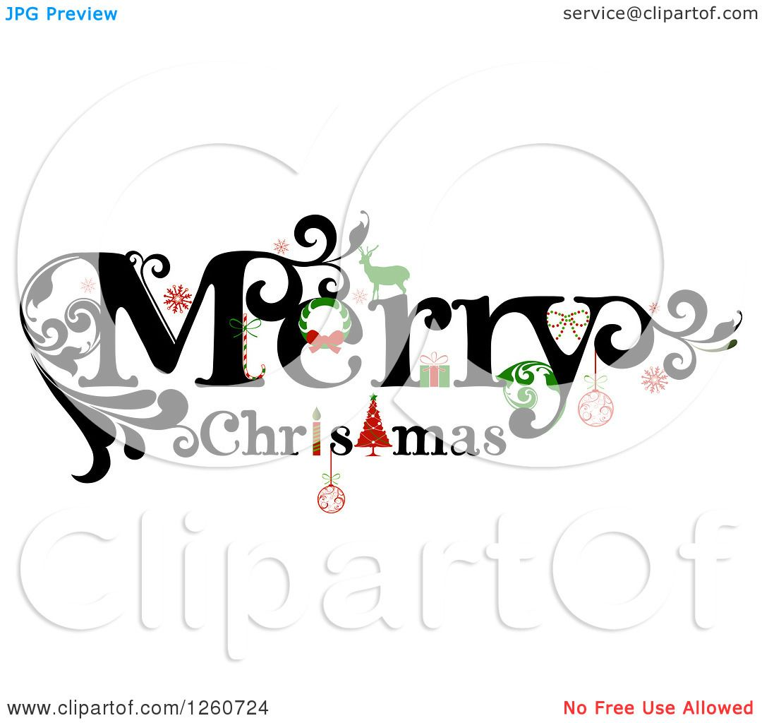 Clipart Of A Merry Christmas Greeting Royalty Free Vector
