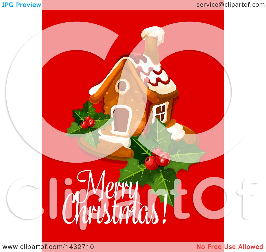 Clipart of a Merry Christmas Greeting with a Gingerbread House ...