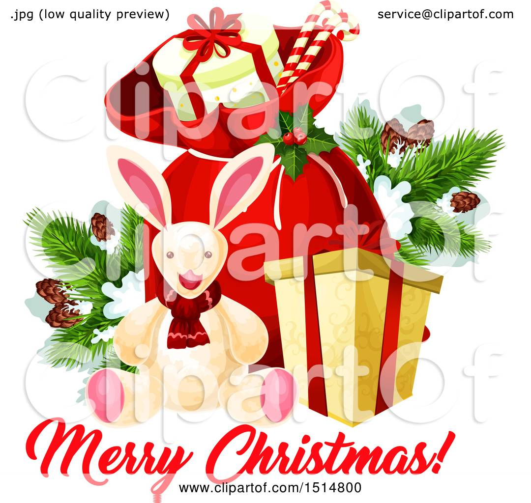 Clipart Of A Merry Christmas Greeting With A Rabbit And Sack