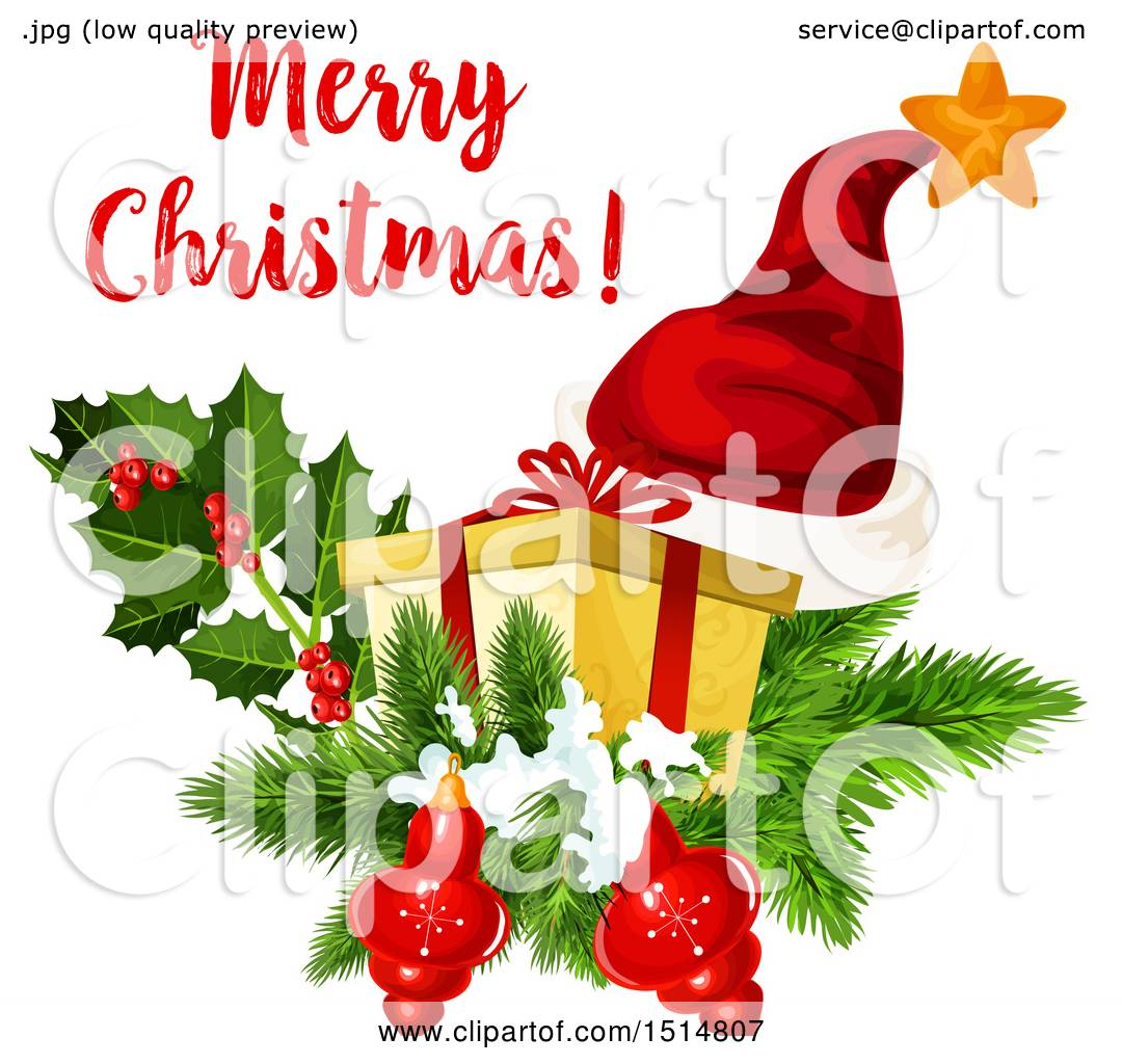 Clipart Of A Merry Christmas Greeting With A Santa Hat Gift Holy