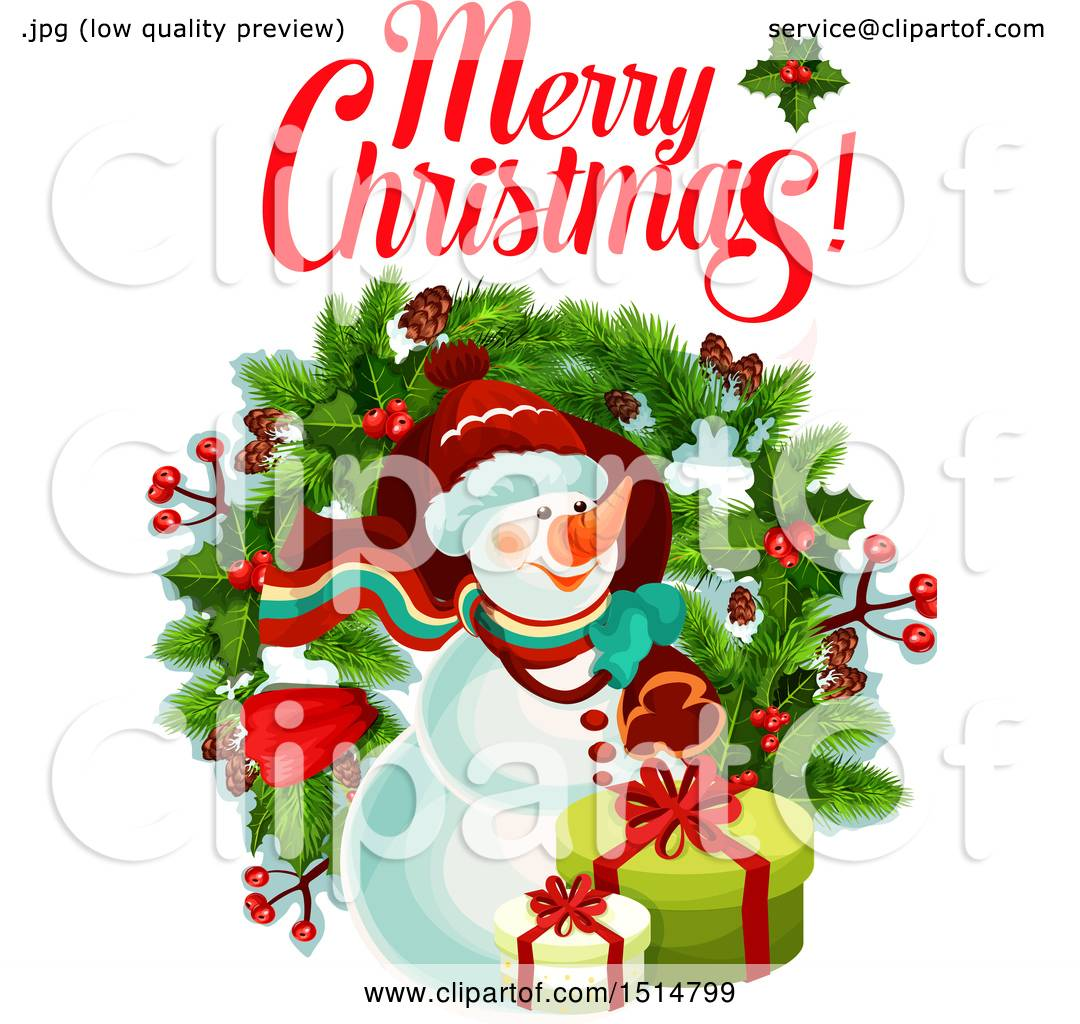 Clipart Of A Merry Christmas Greeting With A Snowman Royalty Free