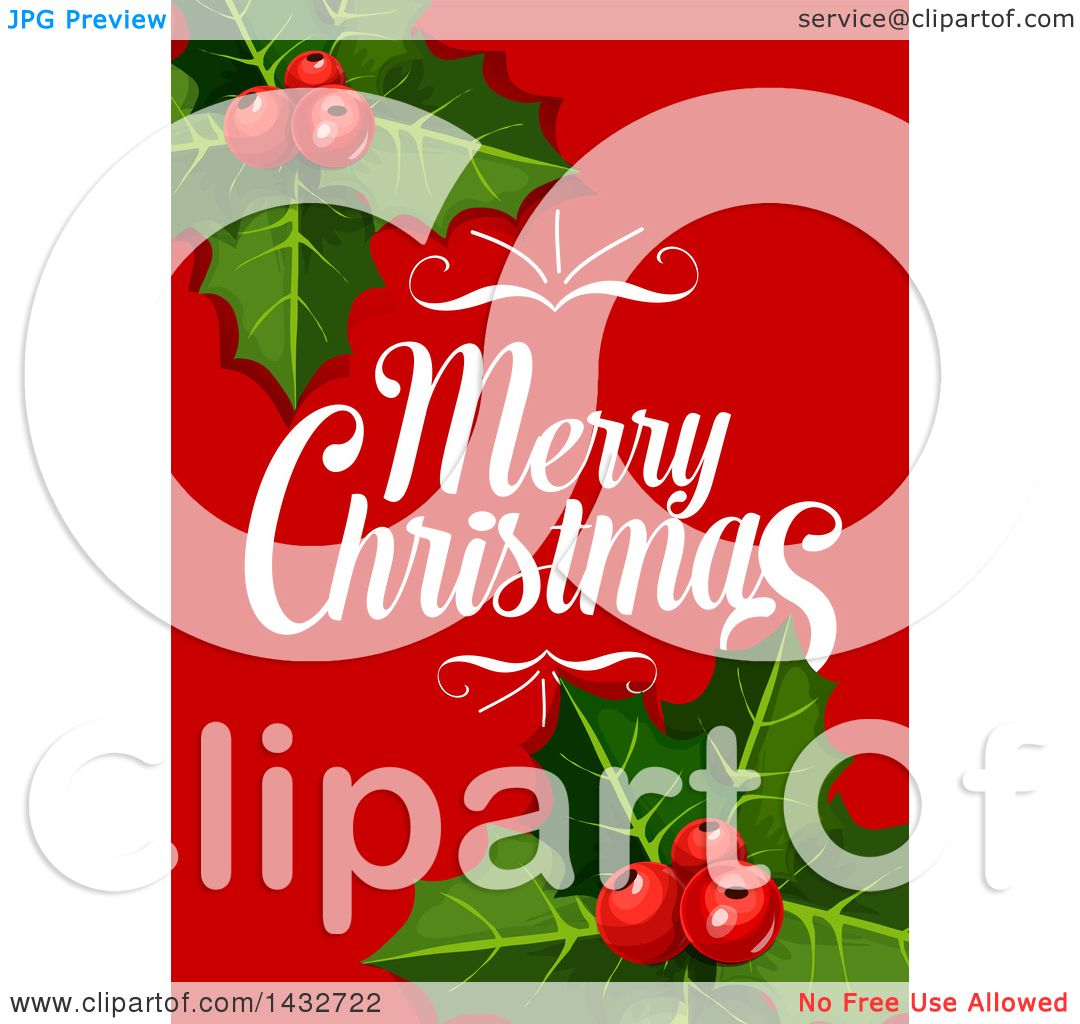 Clipart of a Merry Christmas Greeting with Holly - Royalty Free ...