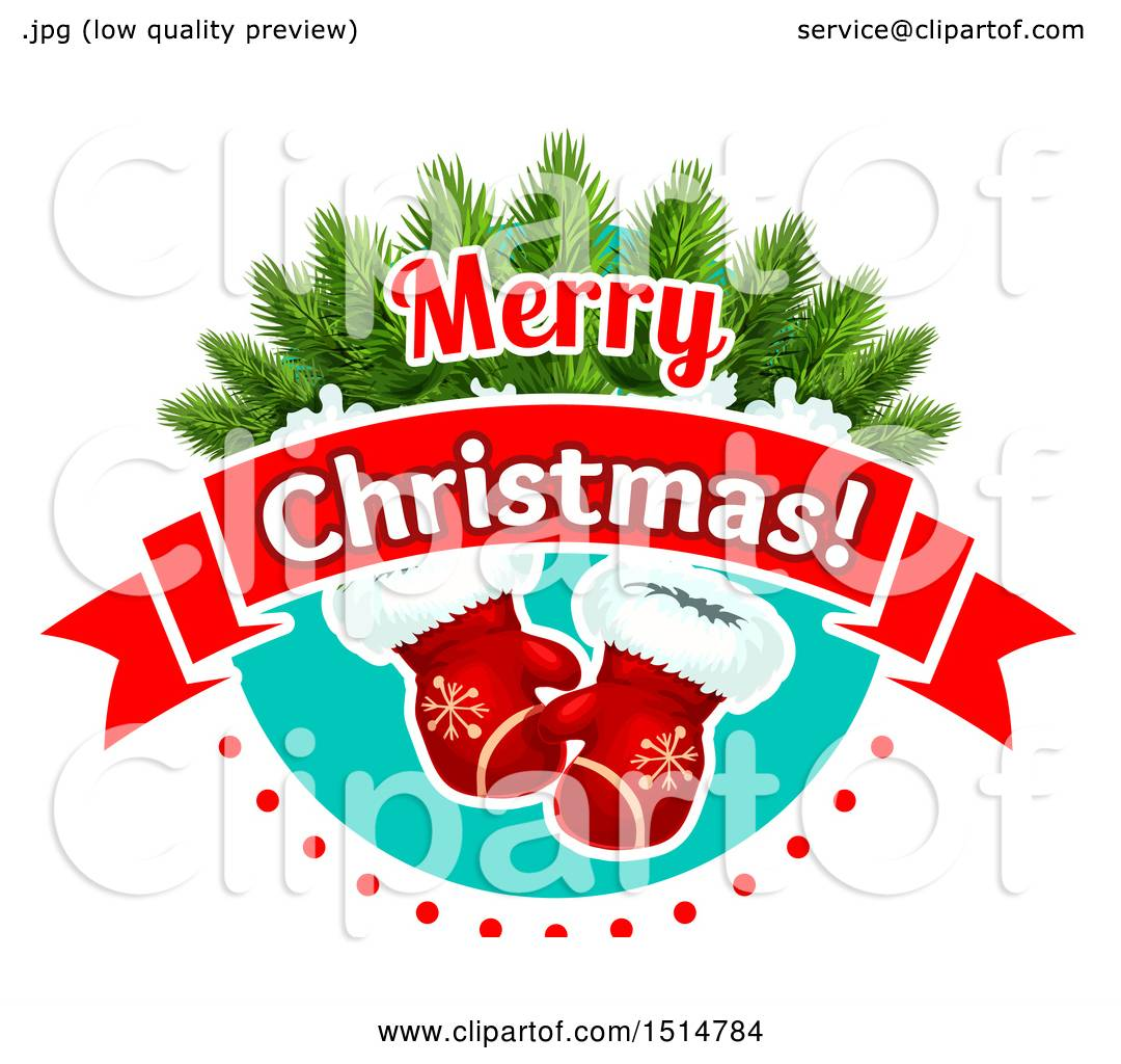 Clipart Of A Merry Christmas Greeting With Mittens Royalty Free