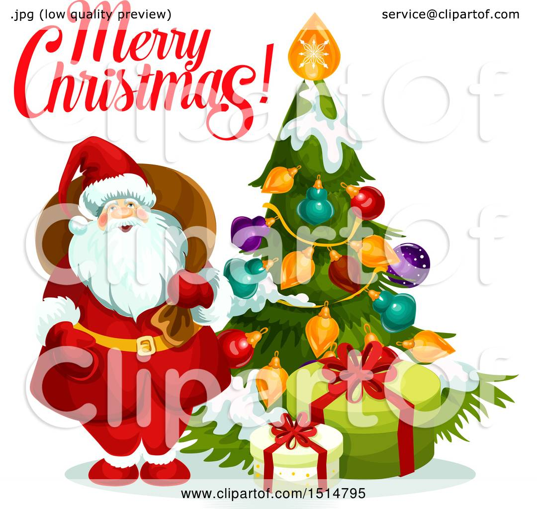 Clipart Of A Merry Christmas Greeting With Santa By A Tree Royalty