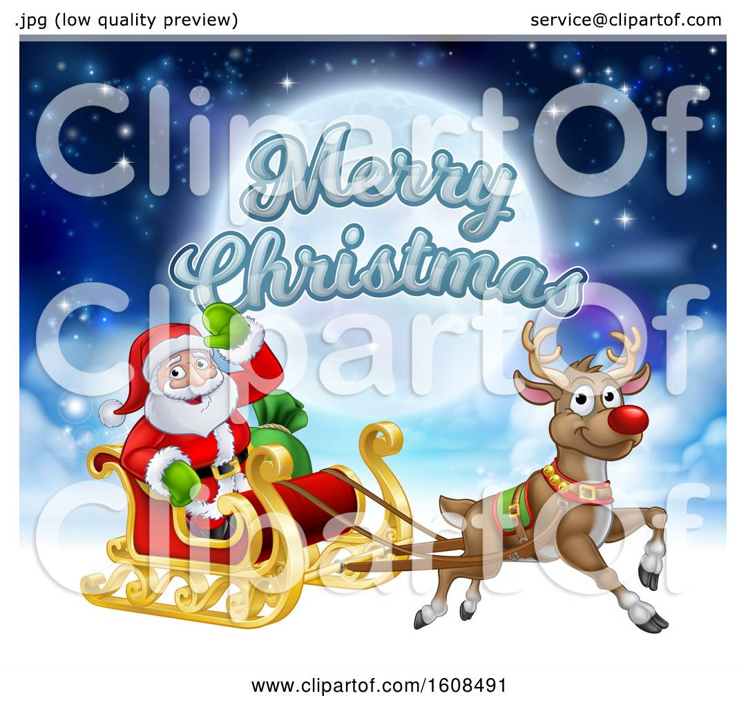 Clipart of a merry christmas greeting with santa claus in a flying clipart of a merry christmas greeting with santa claus in a flying magic sleigh with a red nosed reindeer against the moon royalty free vector m4hsunfo