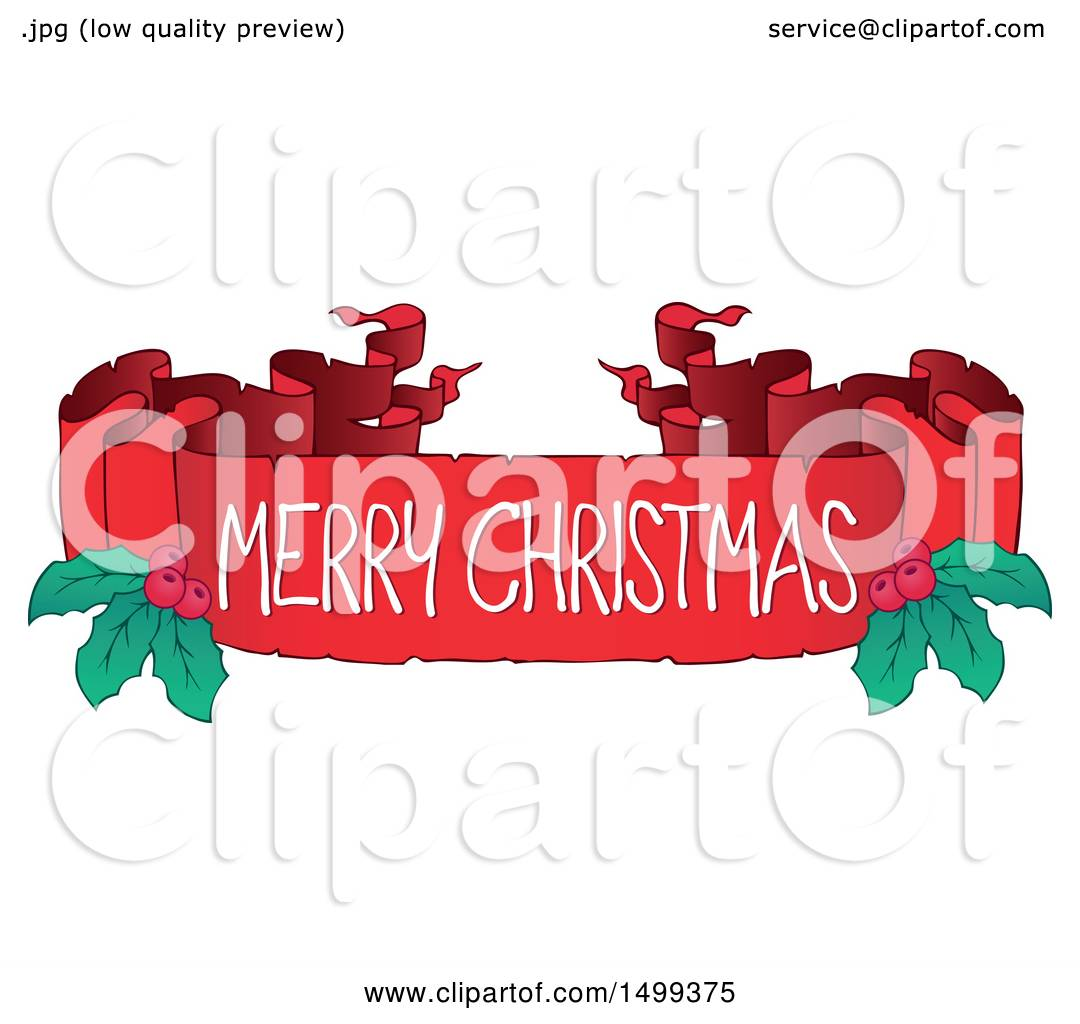 Merry Christmas Ribbon Clipart.Clipart Of A Merry Christmas Ribbon Banner With Holly