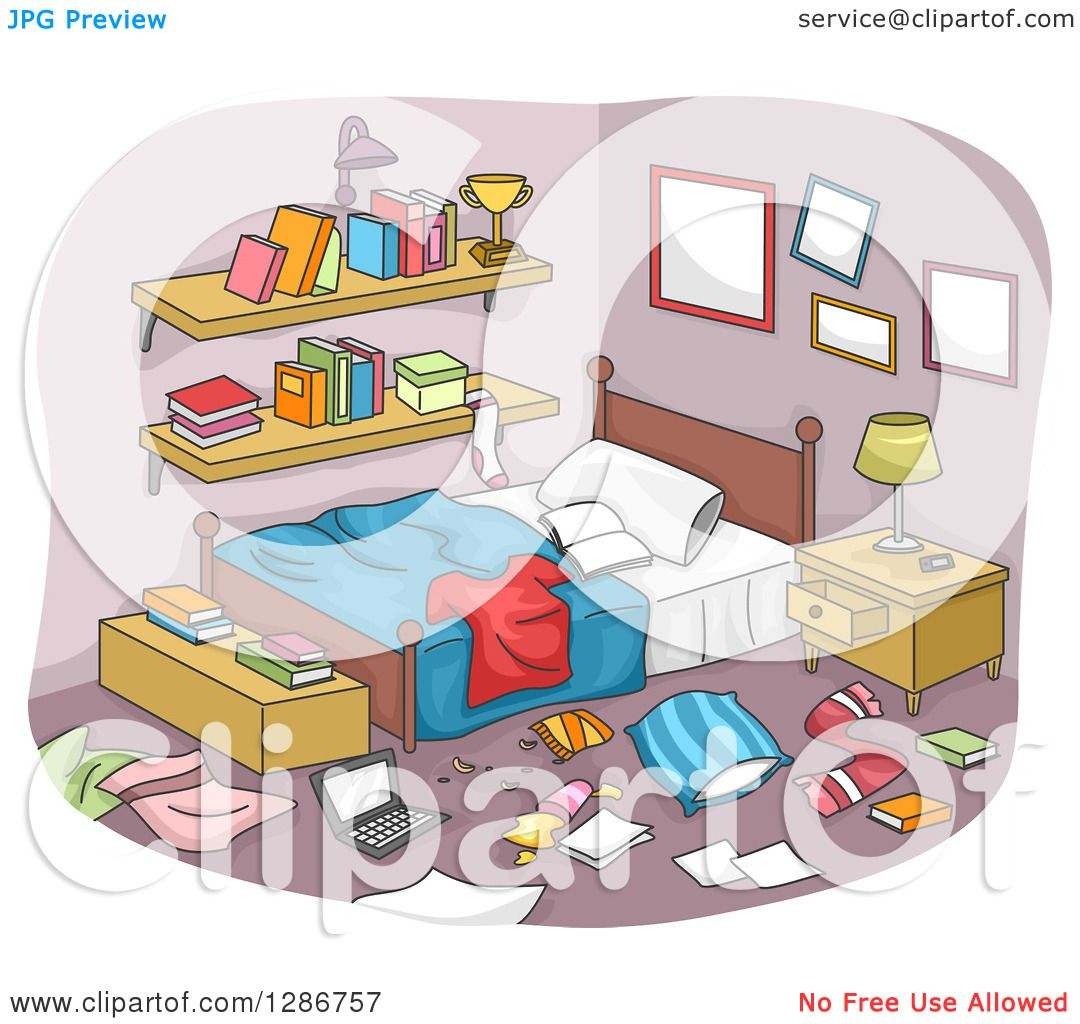 Clipart Of A Messy Boy's Room With Clothing And Items All