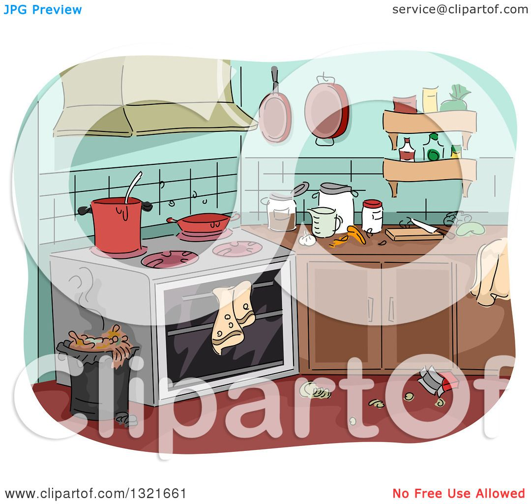 Messy Kitchen Design: Clipart Of A Messy Kitchen