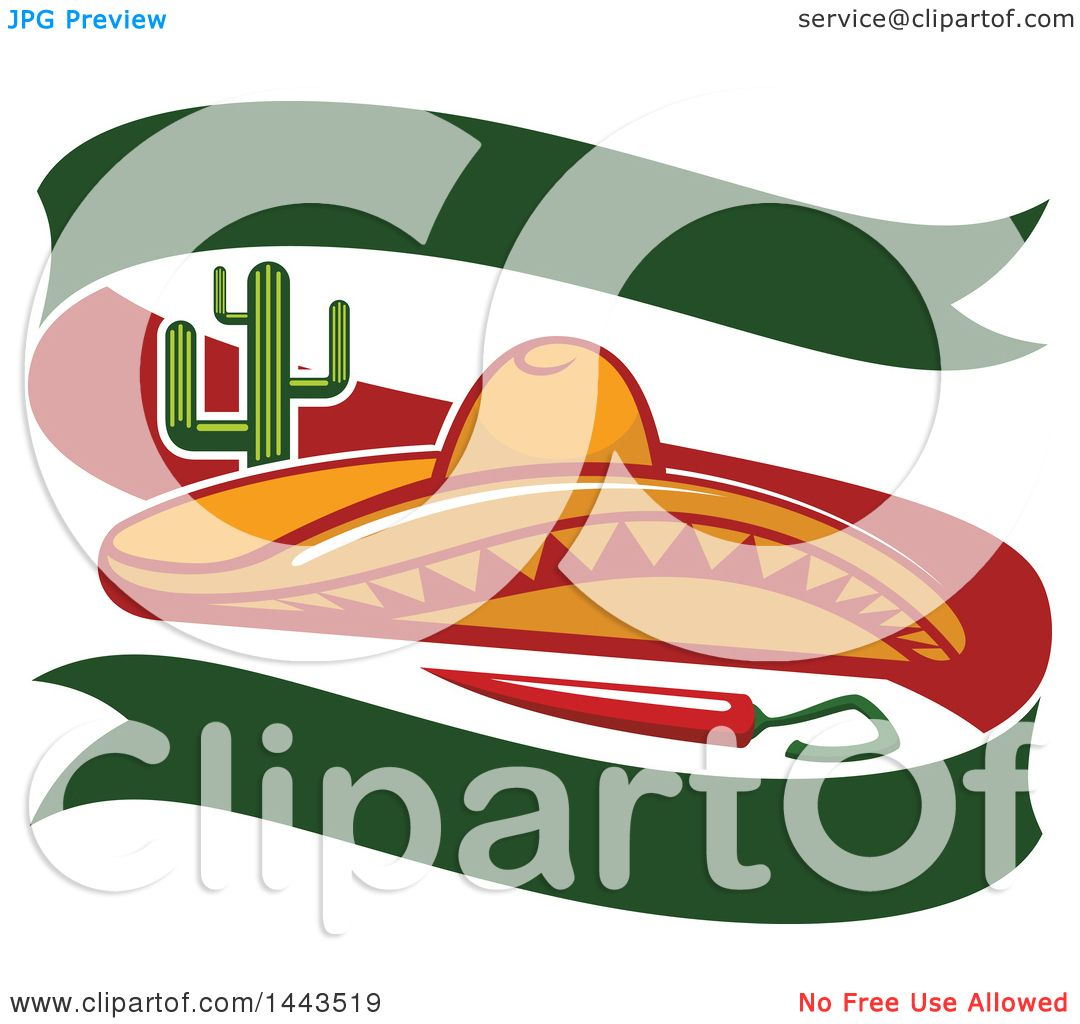 clipart of a mexican food cactus, chili pepper, sombrero hat and
