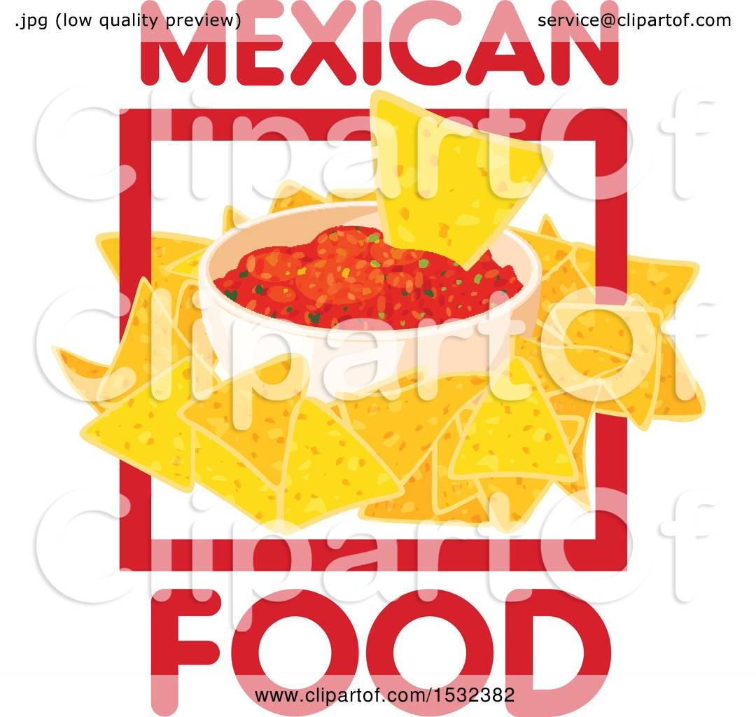 clipart of a mexican food design with salsa and chips - royalty free