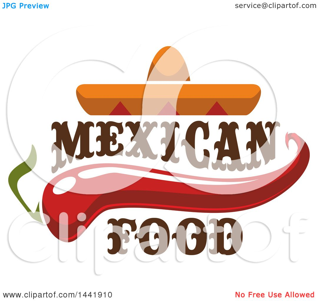 clipart of a mexican sombrero hat with a chili pepper and mexican