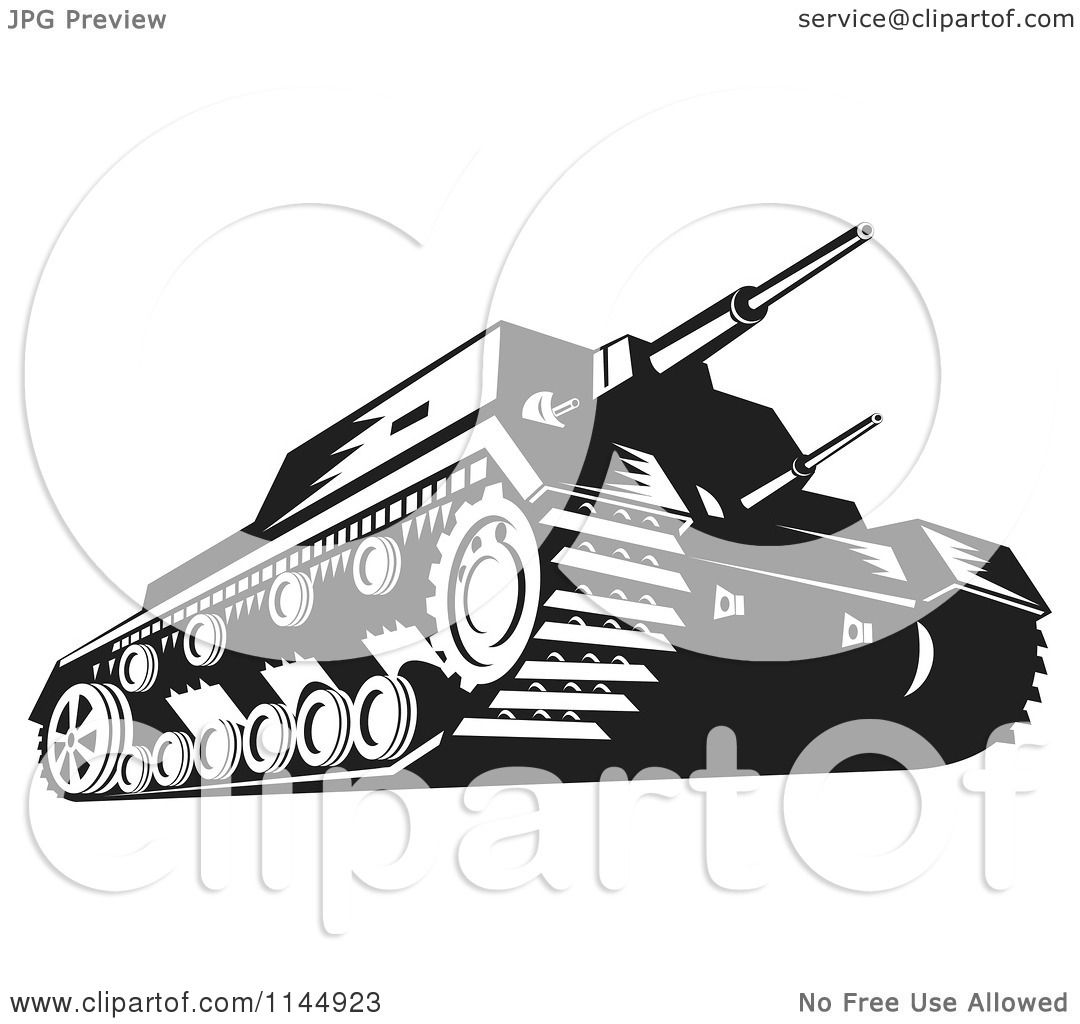 Clipart of a military tank in black and white royalty for Free clipart no copyright