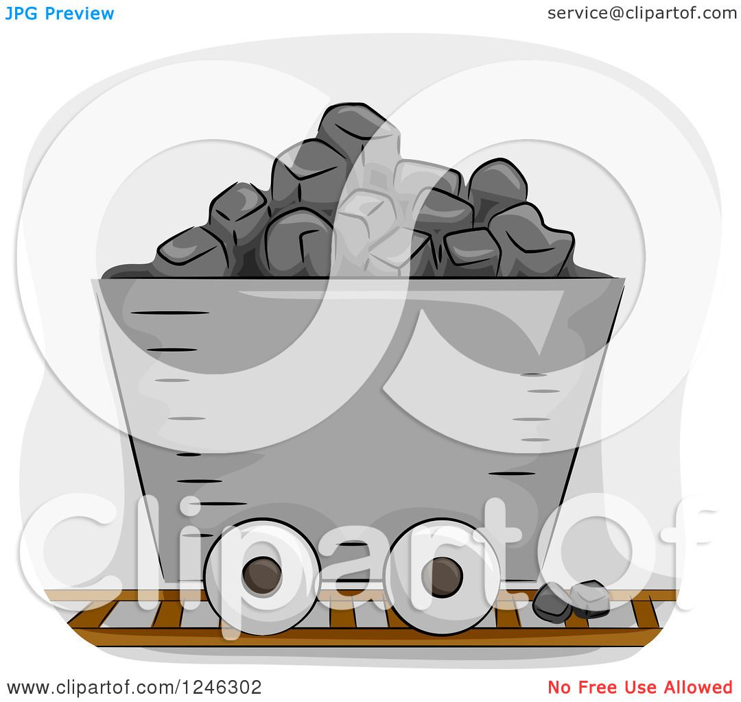 Clipart of a Mining Cart Filled with Coal - Royalty Free Vector ...