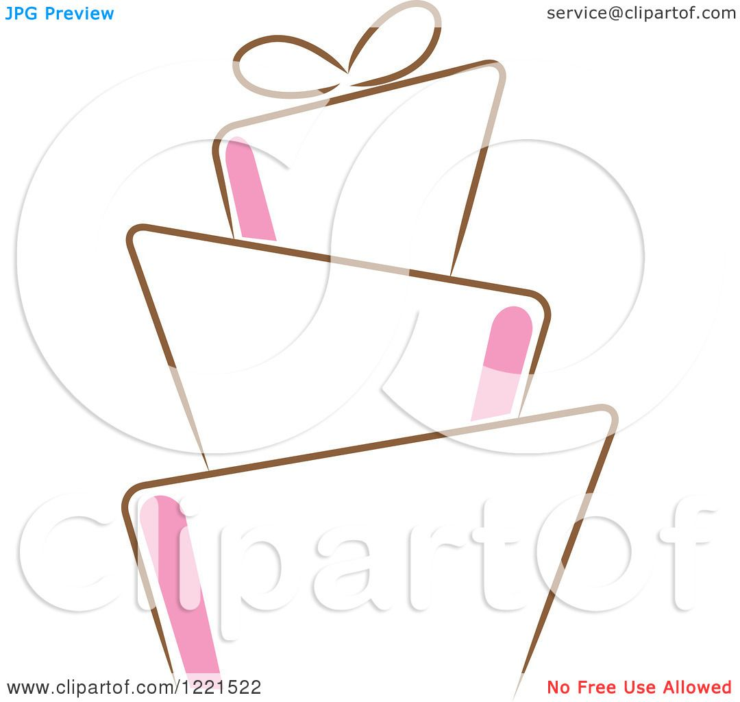 Clipart of a Modern Funky Pink and Brown Wedding or