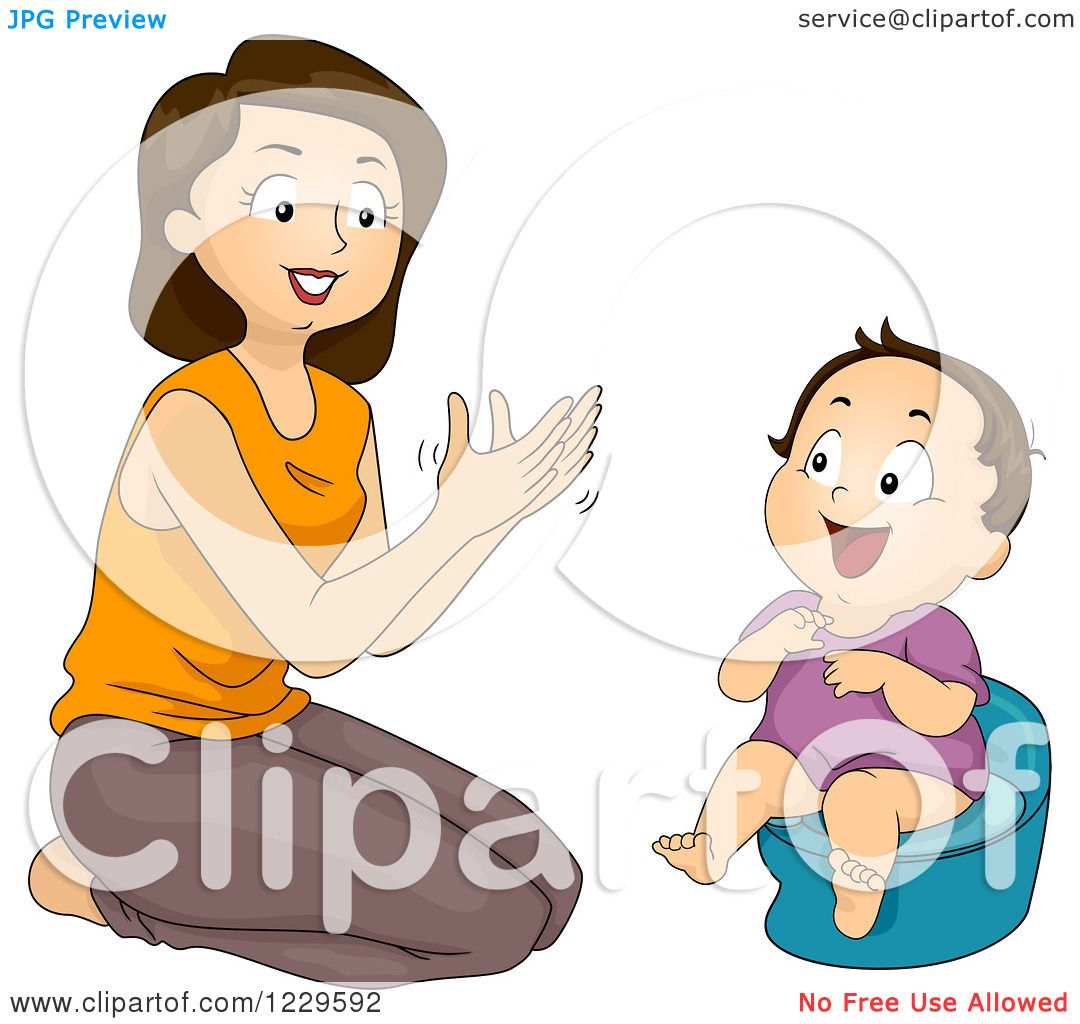 clipart of a mom clapping and potty training her daughter