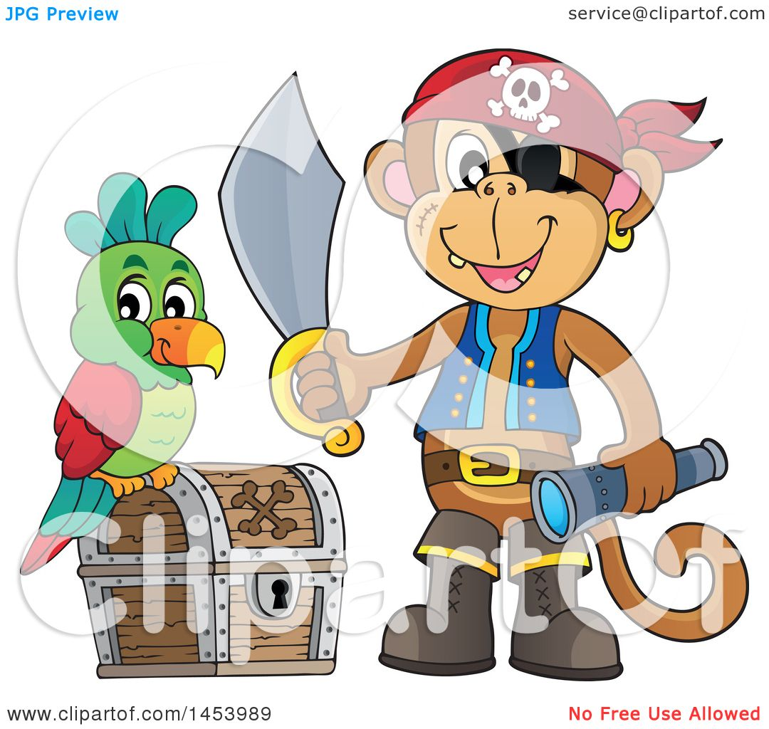 Clipart of a Monkey Pirate Holding a Sword and Telescope ...