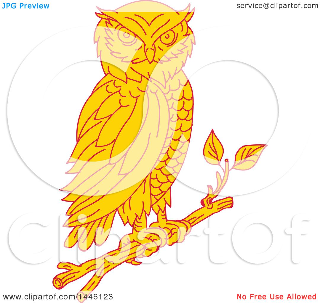 Clipart of a Mono Line Styled Great Horned Owl Perched on ...