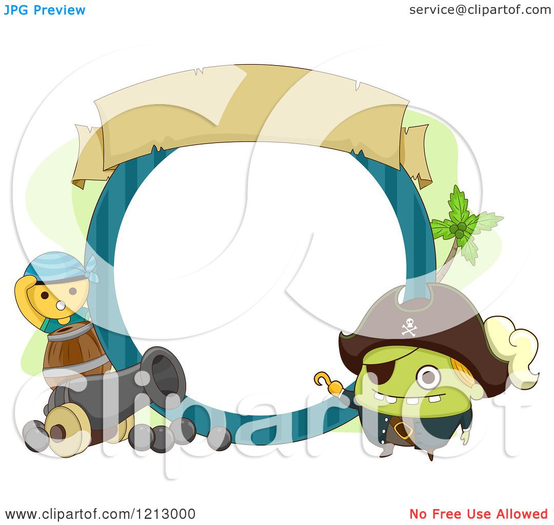 Clipart of a Monster Pirate Frame with a Cannon - Royalty Free ...