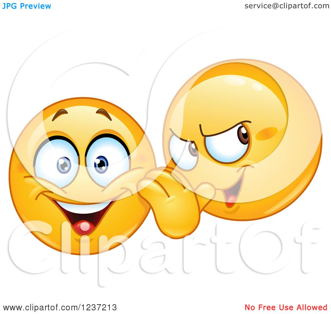 Clipart Of A Moodie Smiley Gossiping And Telling Secrets Royalty Free Vector Illustration 10241237213
