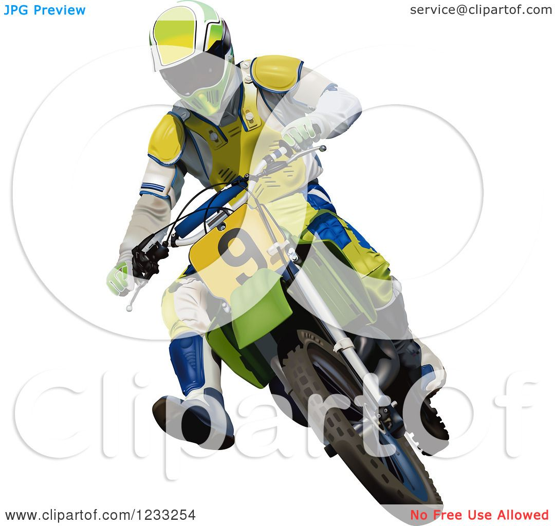 Clipart Of A Motocross Man On A Dirt Bike Royalty Free